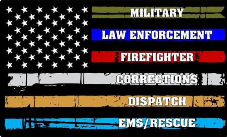 American Flag with police, fire, EMS, and others who protect and serve.